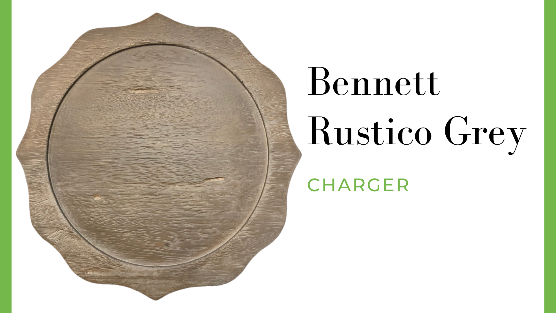 Bennett Rustico Grey Charger