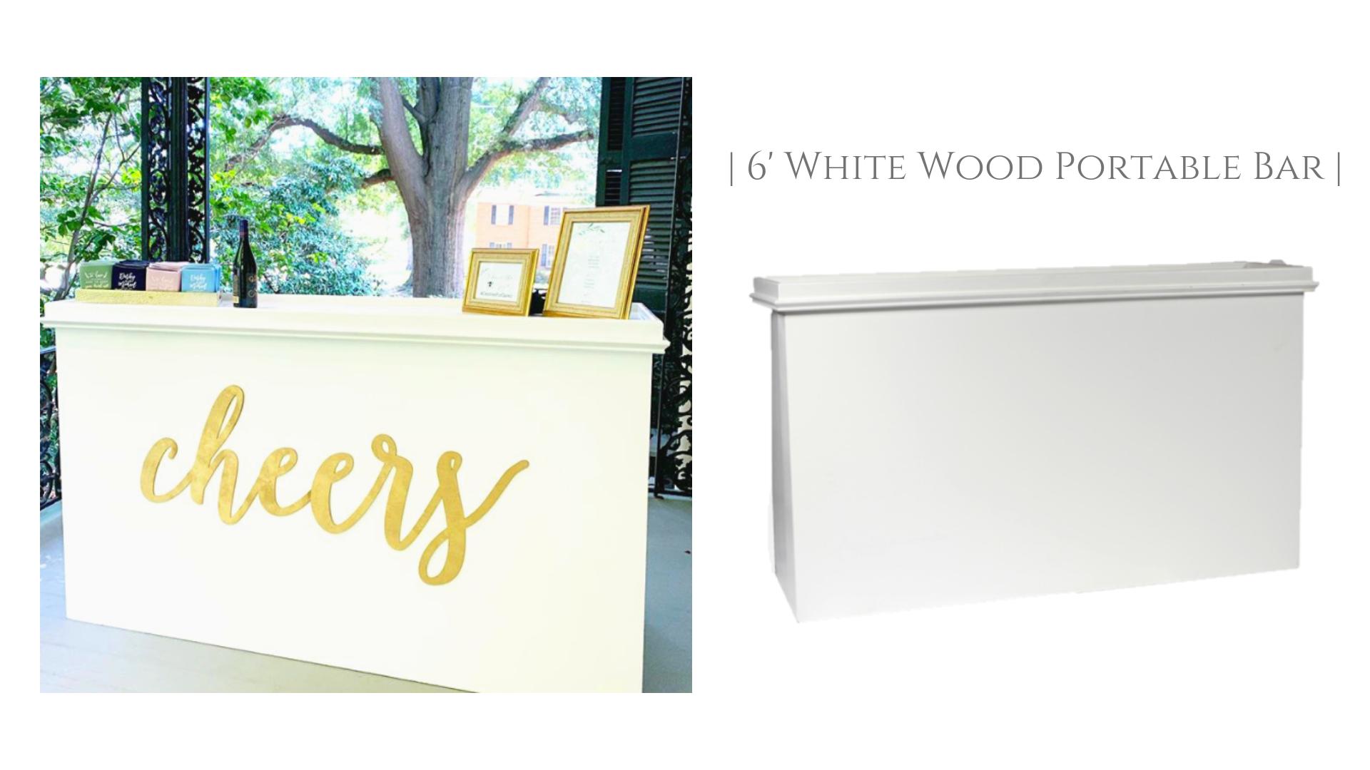 Portable White Wood Bar